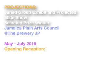 PROJECTIONS: Juried Group Exhibit and Projected Slide Show Selected Prize Winner Jamaica Plain Arts Council @The Brewery JP 30 Germania Street, Boston, MA  02130 May - July 2016 Opening Reception: Saturday, May 14, 8pm  http://jpopenstudios.com/juried-show-projections-art-brewery-walls